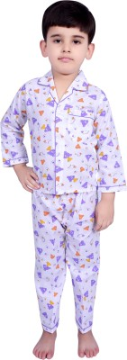 Kingstar Boy's Printed Purple Top & Pyjama Set
