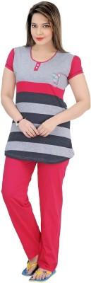 Mint Women,s Striped Grey Top & Pyjama Set