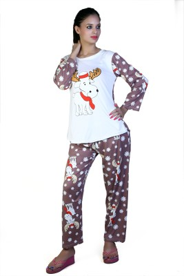 Ruok Women's Printed Multicolor Top & Pyjama Set