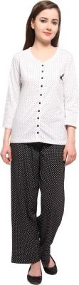 Slumber Jill Women's Polka Print White, Black Top & Pyjama Set