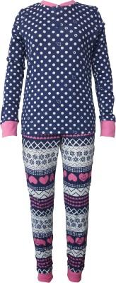 Sweet Dreams Girl's Floral Print Dark Blue Top & Pyjama Set