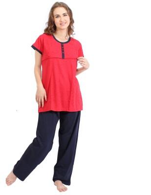 O Baby Women's Printed Multicolor Top & Pyjama Set