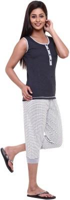 Softwear Women's Striped Black Top & Capri Set
