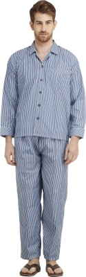 Dillidil Men,s Striped Blue Top & Pyjama Set