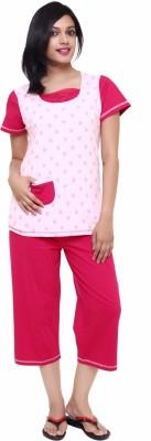 Softwear Women's Printed Red Top & Capri Set