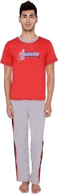 Jazzup Men's Solid Red, Grey Top & Pyjama Set