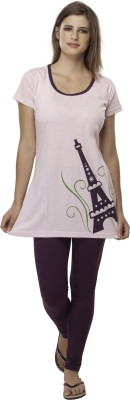 Second SKIN Women's Graphic Print Multicolor Top & Pyjama Set