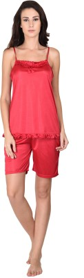 Go Glam Women's Solid Red Top & Shorts Set