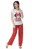 Big Pout Women's Printed Red Top & Pyjam...