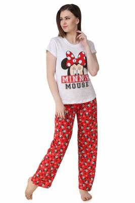 Big Pout Women's Printed Red Top & Pyjama Set