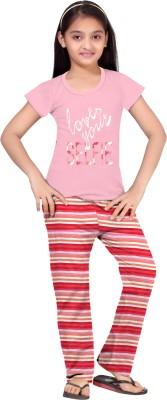So Sweety Girl's Striped Pink Top & Pyjama Set