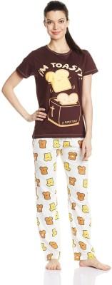 July Comfy Cotton Designer Two Piece Women's Printed Brown, White Top & Pyjama Set