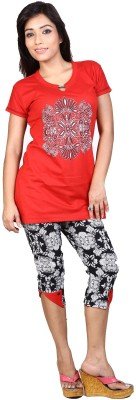 Ruok Women's Printed Red Top & Capri Set