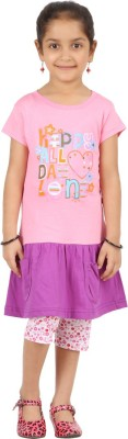 SPN Garments Girl,s Printed Pink, Purple Top & Capri Set