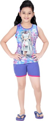 Red RinG Girl's Printed Blue Top & Shorts Set