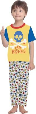 La Dreamz Boy's Printed Yellow Top & Pyjama Set