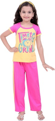 Be 13 Girl's Printed Yellow Top & Pyjama Set