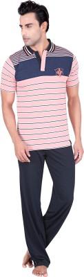 TATWAM Men's Striped Pink Top & Pyjama Set