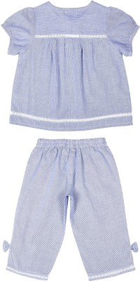 ShopperTree Girl's Striped Blue Top & Pyjama Set