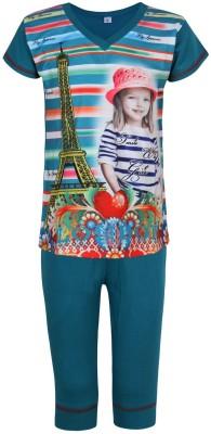 Jazzup Girl's Printed Blue Top & Pyjama Set