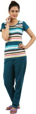New Darling Women's Striped Multicolor Top & Pyjama Set