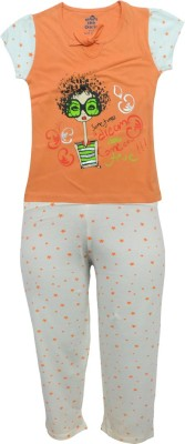 Kothari Girls Printed Multicolor Top & Pyjama Set