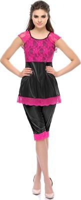 Clovia Black Lace Women's Solid Black Top & Capri Set