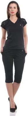 Ultrafit NS2Pcs Women's Solid Black T-shirt & Three-forth Set