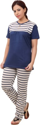 Div Women's Printed Dark Blue Top & Pyjama Set
