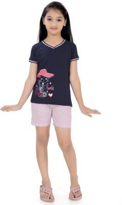 Just4You Girl's Printed Black Top & Shorts Set