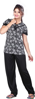 MAHAARANI Women's Printed Black Top & Pyjama Set