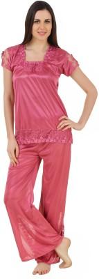 CrazyLiner Women's Solid Pink Top & Pyjama Set