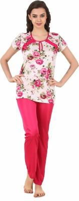 Masha Women's Printed Pink Top & Pyjama Set