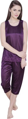 Claura Women's Solid Purple Top & Capri Set
