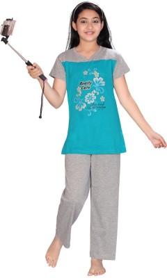 ABHIRA Girl's Printed Blue, Grey Top & Pyjama Set