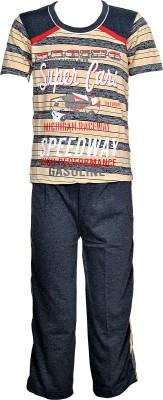 Gee & Bee Boys Printed Beige Top & Pyjama Set