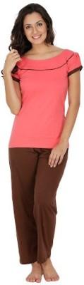 Klamotten Women's Solid Orange Top & Pyjama Set