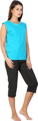 Click Hit Softle Top Payjama set Women's Solid Light Blue, Black T-shirt & Three-forth Set