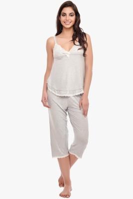 Penny by Zivame Women,s Solid Grey Top & Capri Set