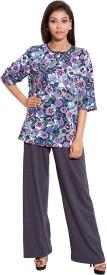 9teenAGAIN Women's Floral Print Purple, Grey Top & Capri Set