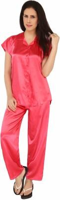 Sweet Heart Women's Solid Red Top & Pyjama Set