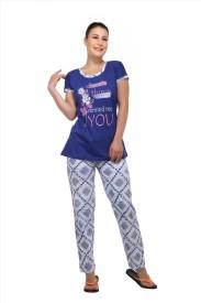 Skin Wrap Women's Solid Blue Top & Pyjama Set