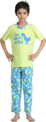 Kanvin Boy's Printed Green Top & Pyjama Set