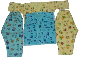 Thakkar Baby Boy,s Printed Blue, Yellow Top & Pyjama Set
