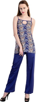 Claura Women's Floral Print Blue Top & Pyjama Set