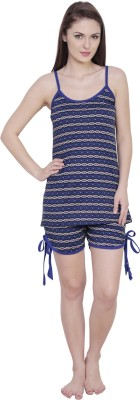 Claura Women's Striped Blue Top & Shorts Set