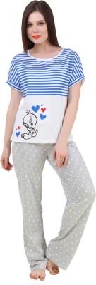 BrandMeUp Women,s Printed Grey Top & Pyjama Set