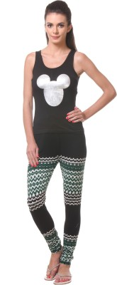 Tweens Women's Printed Black Top & Pyjama Set