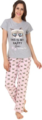 BrandMeUp Women,s Printed Grey Top & Shorts Set
