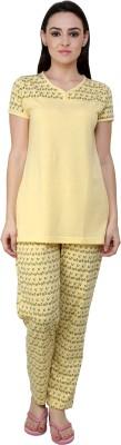 TAB91 Simpally Delicious Women's Printed Yellow Top & Pyjama Set